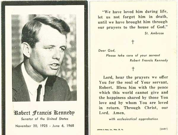 Mass cards - at a funeral??? At Robert Kennedy's funeral ...
